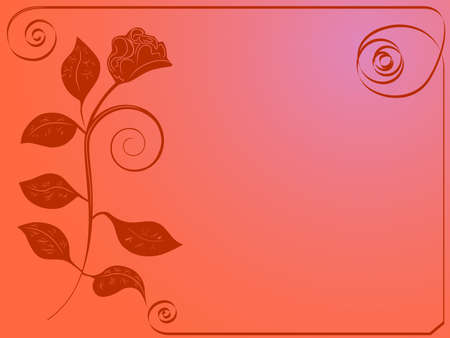 illustration of postcard with painted rose and ribbon Stock Illustration - 2065571