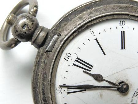 till: vintage silver clock show five minute till twelve