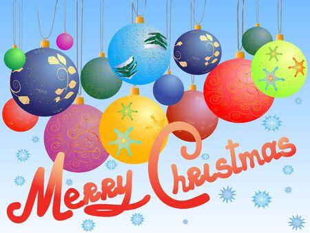 bijschrift: Kerst ballen ansicht kaart met caption, merry christmas