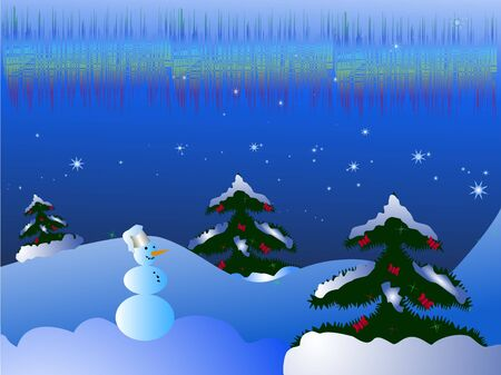 snowbank: Christmas snow landscape with decorated trees and smiling snowman