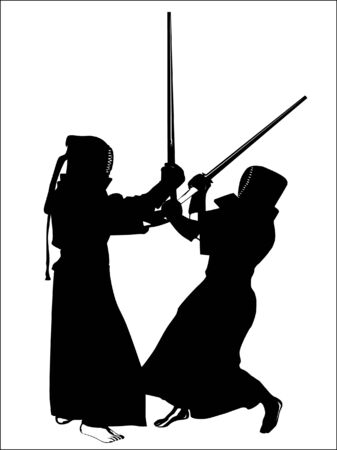 battling: silhouette of two kendo fighters Illustration