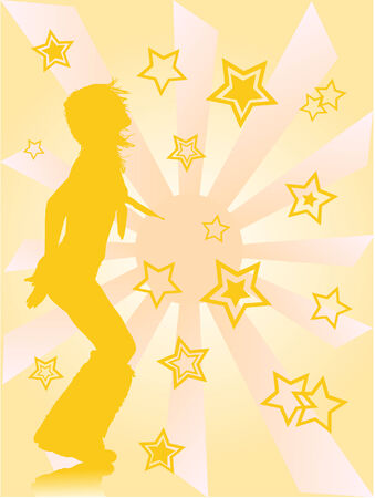 silhouette of dancing girl against the sun and stars background   Vector