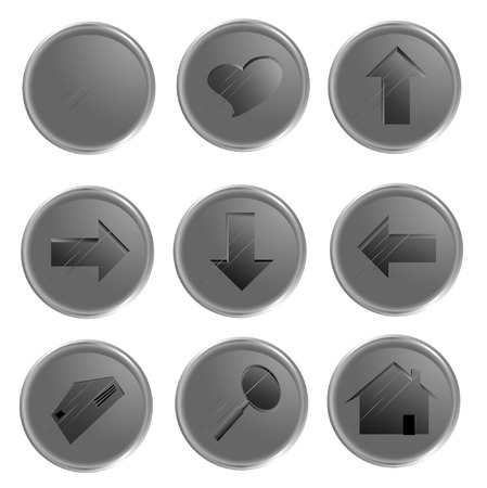 spheric: Illustration of the grey spheric web buttons Illustration