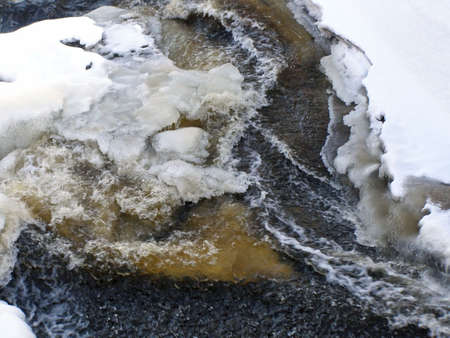 bobble: stream of water waves run through the snow and ice Stock Photo