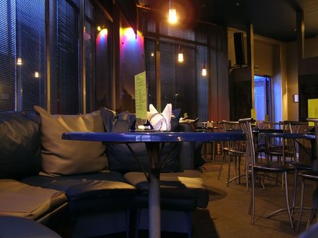 Cafe night interior with tables and sofa Stock Photo - 2558487