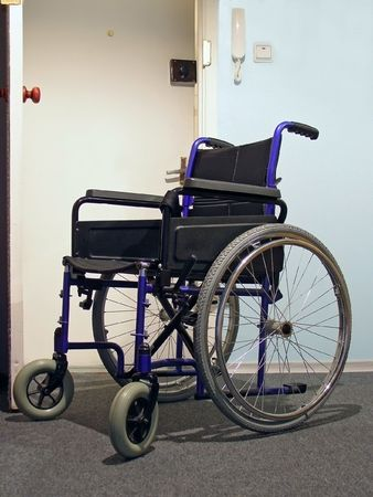 Single wheelchair for patient in the hospital photo