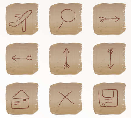 Vector illustration of the beige square web buttons set2 Vector
