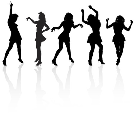 Vector silhouettes of the dancing girls at the white background