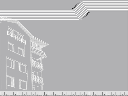Vector house with flats at the grey background Vector