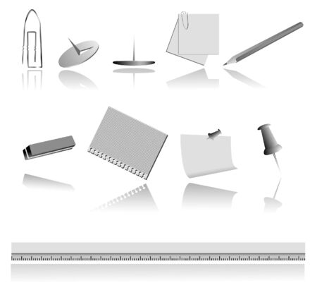Some vector stationery with shadow against the white background Stock Vector - 3179870