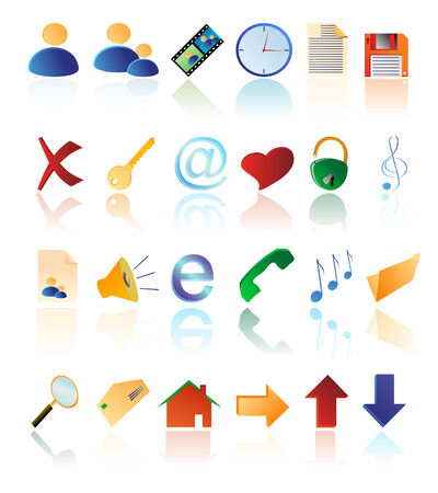 Vector multicolored icons at the white background   Illustration