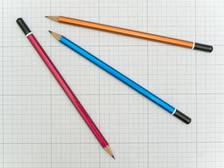 plotting: Three pencils at the plotting paper