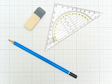 protractor: angle protractor, pencil and eraser at the plotting paper