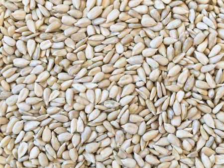 hulled: hulled sunflower seeds background Stock Photo