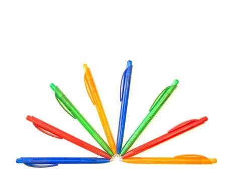 biro: multicolored ballpoint pens in half sun form Stock Photo