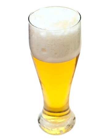glass whith golden beer on the white surface Stock Photo - 3677132