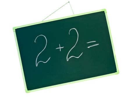 green school blackboard with letters 2 plus 2 equal photo