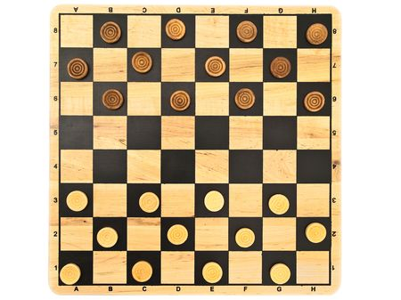 boardgames: Photo of the checkers game against the white background