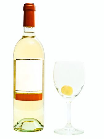 bottle of the white wine near wineglasses with grape against the white background photo