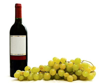 bottle of red wine with vine against the white background Stock Photo - 4094874