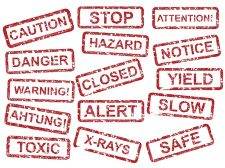warning against a white background: Vector warning sign set against the white background Stock Photo