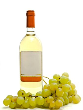 bottle of white wine with vine against the white background photo