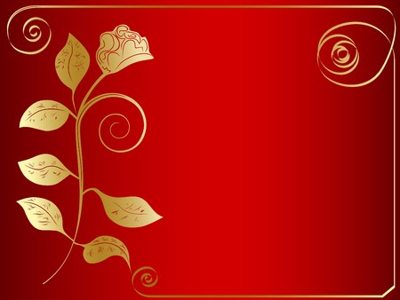 vector golden rose frame at red background photo