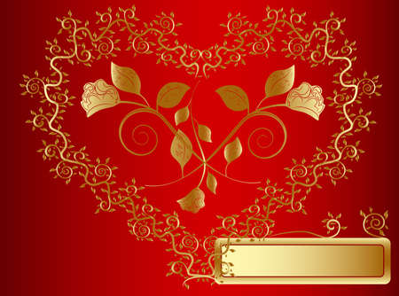 vector golden heart with copy space at red background photo