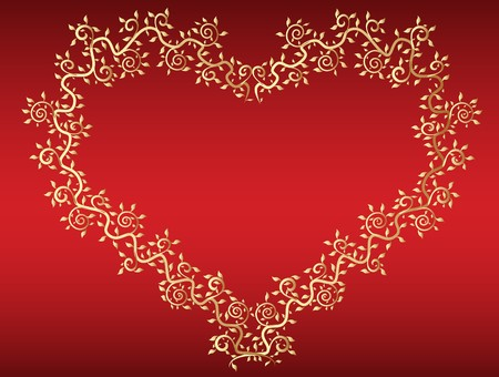 vector golden heart at red background photo