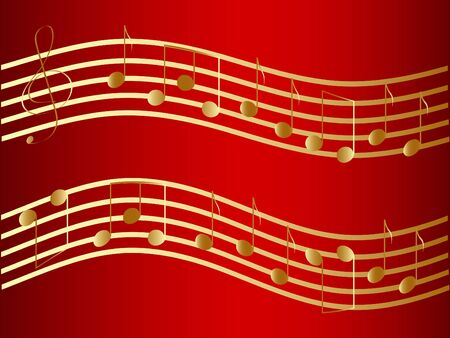 Vector waved golden music notes at the red background photo