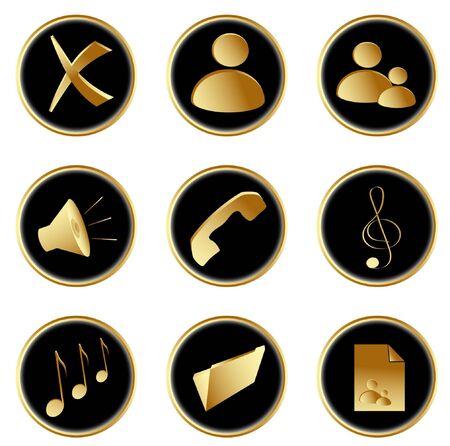Vector Illustration of the golden black round web buttons set 1 Stock Illustration - 4274646