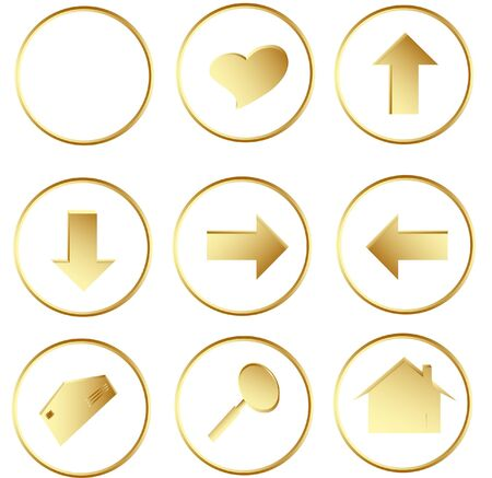 Illustration of the gold round web buttons illustration