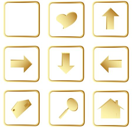 Illustration of the gold square web buttons Stock Illustration - 4274633