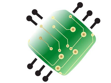 Vector electric scheme in green bug design illustration Stock Illustration - 4376321