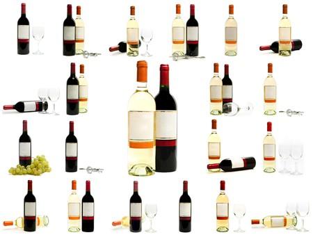 wei?wein: Rot-und Wei�wein Flaschen gegen den wei�en Hintergrund
