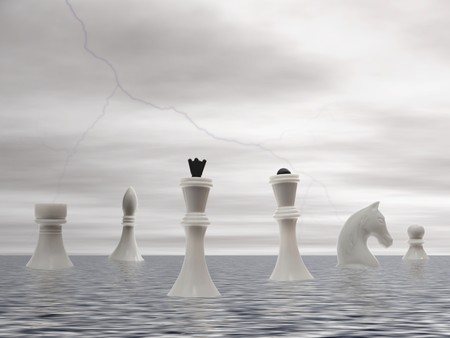 storming: white  chessmans advent by sea under the storming sky