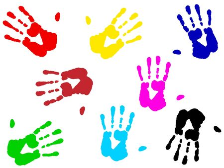 illustration of multicolored hand print over white illustration