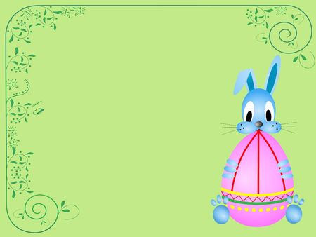 Easter card with funny rabbit holding coloring egg photo