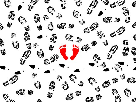 foot path: seamless illustration of foot prints with two red bootless imprints