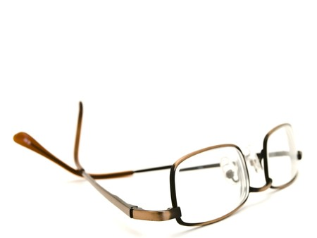 myopic: modern glasses in metallic frame over the white background