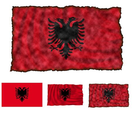 flaunt: Illustration of national color of Albania in three different styles