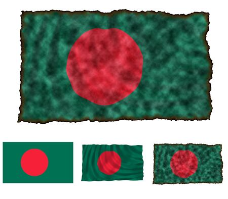 Illustration of national color of Bangladesh in three different styles illustration