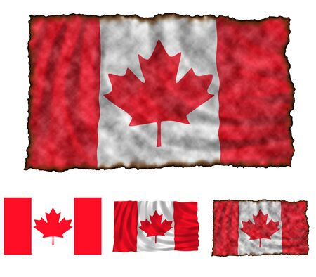 Illustration of national color of Canada in three different styles illustration
