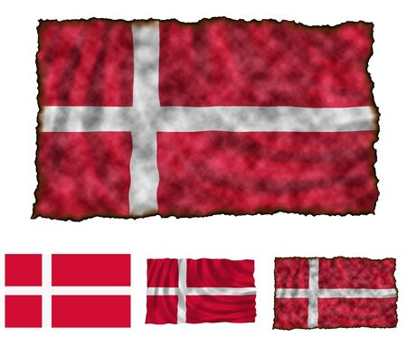 Illustration of national color of Denmark in three different styles Stock Illustration - 4486239