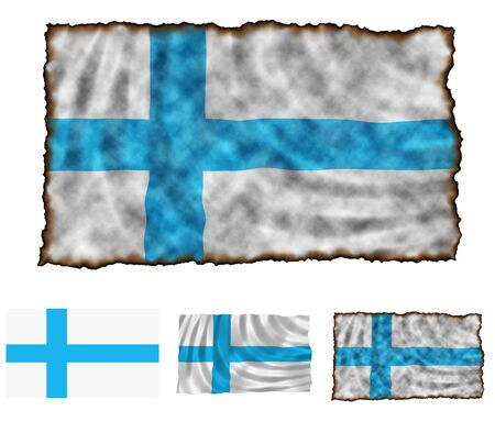 Illustration of national color of Finland in three different styles illustration
