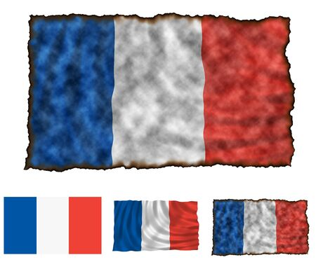 Illustration of national color of France in three different styles illustration