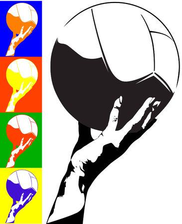 Beispiel für die weiße Kugel in der Hand der Frau Vektorgrafik
