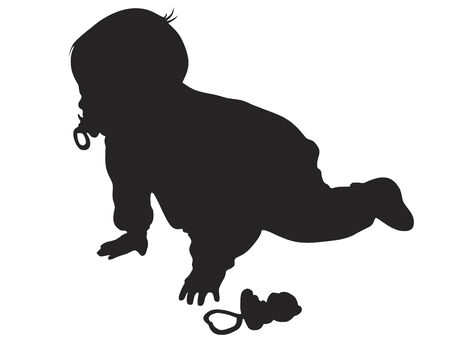 Vector little baby silhouette against the white background Vector