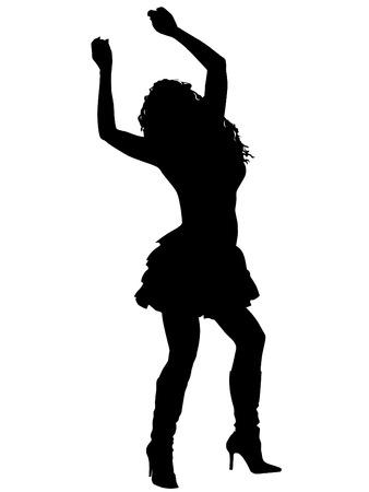 meisje silhouet: Vector meisje silhouet tegen de witte achtergrond Stock Illustratie