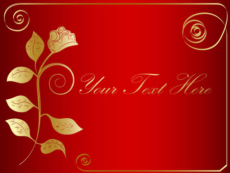 vector golden rose frame at red background Vector